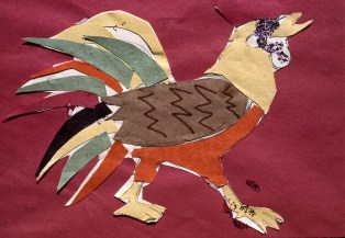 Collage rendering of a rooster
