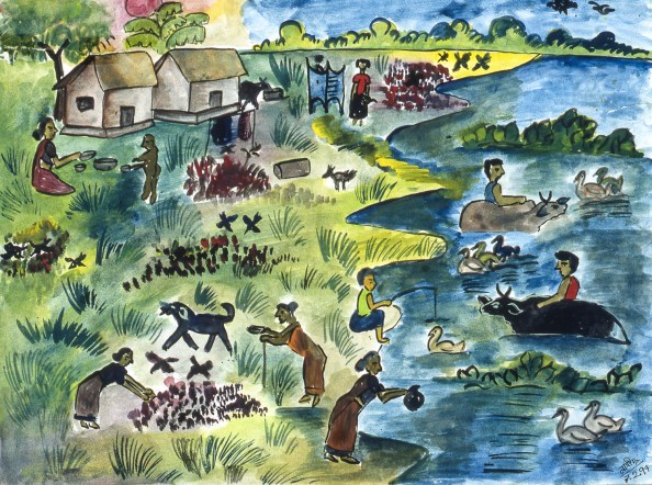 Painting of Bangladeshi villagers struggling to work in spite of rampant pollution