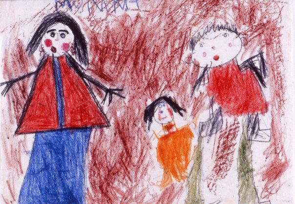 Child's drawing of mother, father and young child