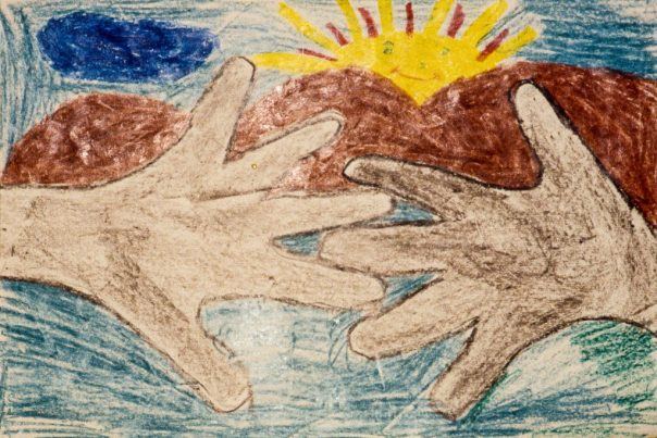 Drawing showing two hands about to clasps each other in friendship, with rising sun in the background