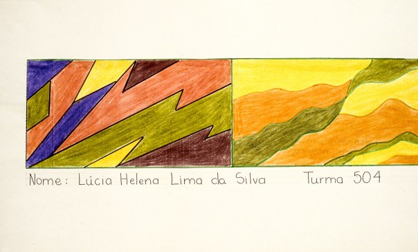 Two side-by-side paintings; one with hard lines, the other with soft