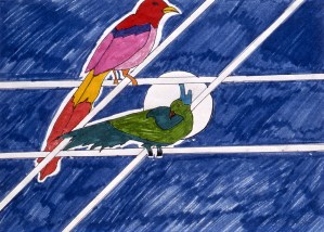 Marker drawing of two birds perched on a telephone wire