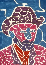 Mosaic image of a man's head suggestive of Van Gogh