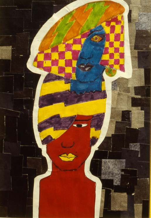 Two abstract faces with a West African or Caribbean motif