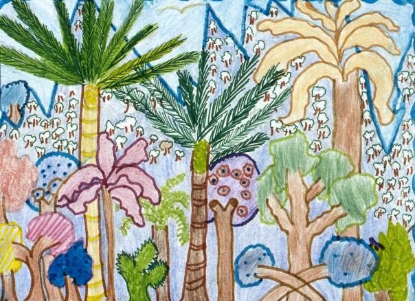 Fanciful drawing of jungle foliage with mountains in the background