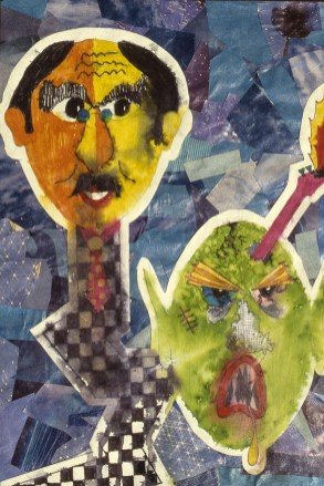 Artwork depicting two faces in the abstract, one of which looks like a human, the other an alien