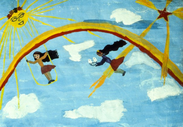 Fantasy painting showing two girls flying near a rainbow
