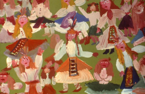 Painting of traditional Bulgarian folk dancers