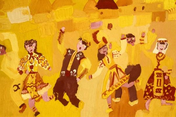 Painting showing Bulgarian villagers dancing in village street