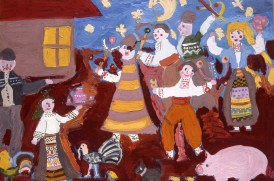 Painting of Bulgarian villagers celebrating