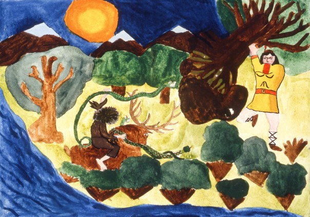 Painting depicting traditional Bulgarian folk tale