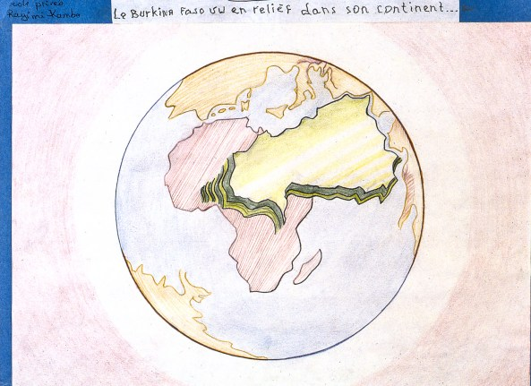 Drawing showing the country of Burkina Faso in relief over the African continent