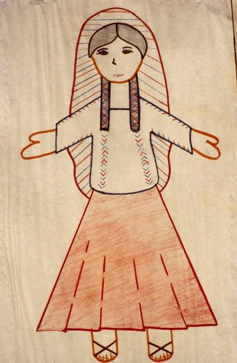 Child's drawing of a Mexican peasant woman in traditional dress
