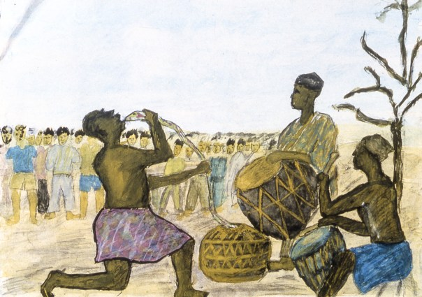 Child's painting of traditional village culture