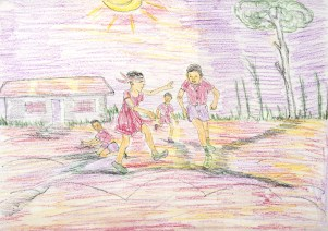 Child's crayon drawing of Nigerian village life