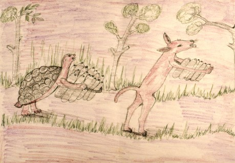 Child's crayon drawing of traditional fable