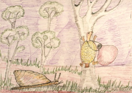 Child's crayon drawing of folk fable