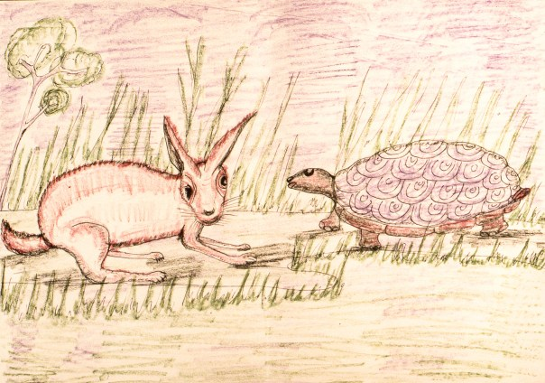 Child's crayon rendering of animal fable