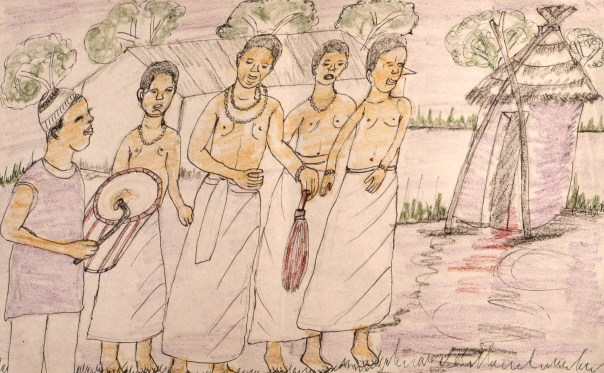 Crayon drawing of blinf village leader and his sons