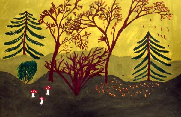 Painting of Norwegian forest scene