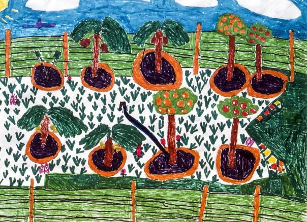 Marker drawing of village fields