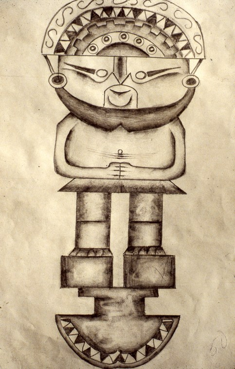 Child's drawing of a Peruvian Statue