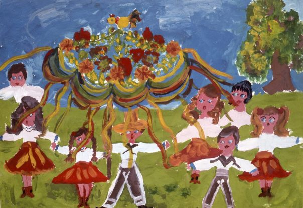 Child's drawing of maypole dancers