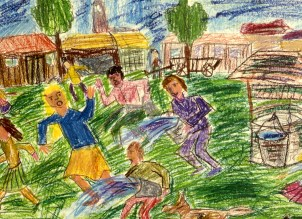 Drawing of people running with buckets of water