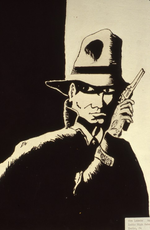 Image of comic book character with gun