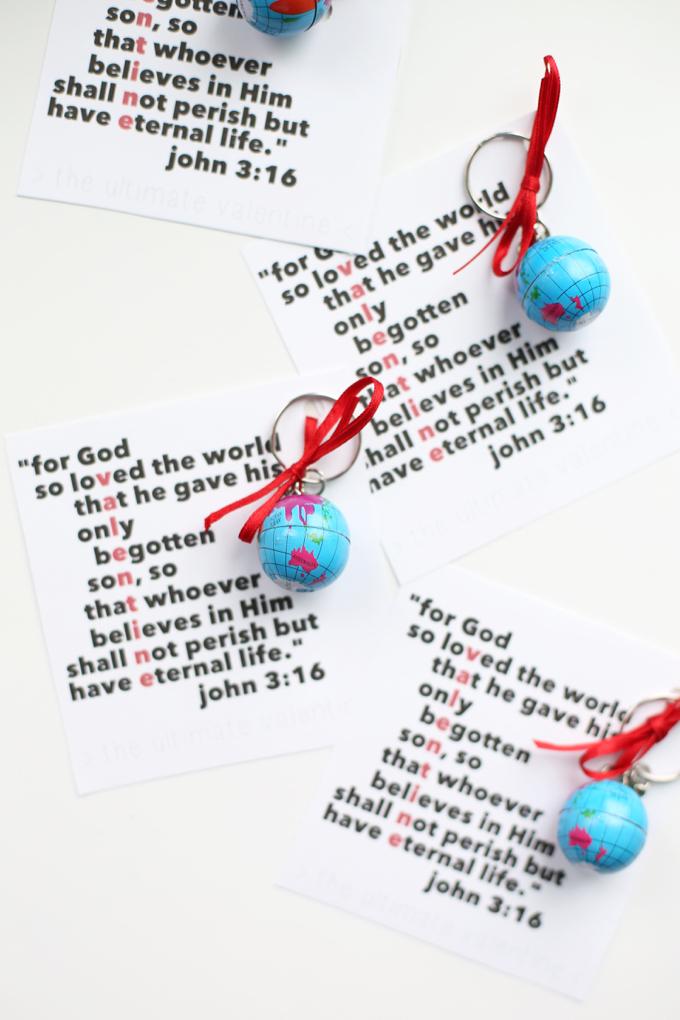 John 316 Printable Valentines With Globe Keychains