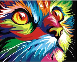 Colorful abstract cat closeup