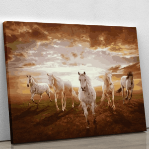 Five White Horses Running