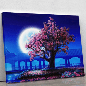 Cherry Blossom tree by Moonlight