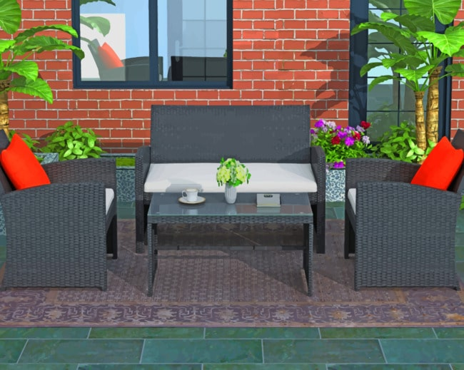 patio furniture near a brick wall furniture paint by numbers