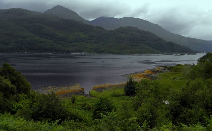 Misty mountains across Loch Ailort