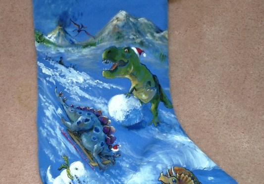 Holiday Stockings with Dinosaurs