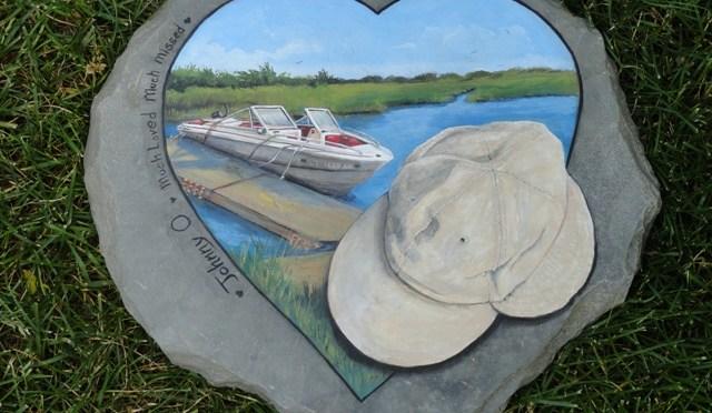 """Gone Fishing"" Memorial Stone"