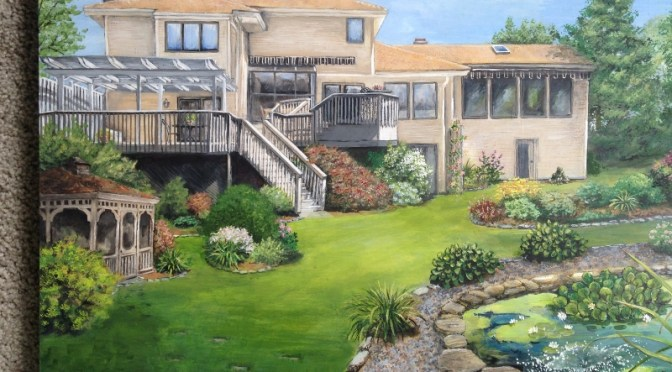 Contemporary House Portrait -Backyard