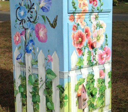 Garden Fence Painted on Three Drawer Chest
