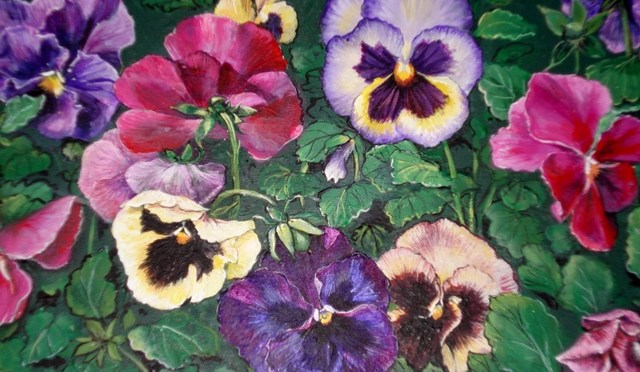 Pansies on a Faux Marble Box