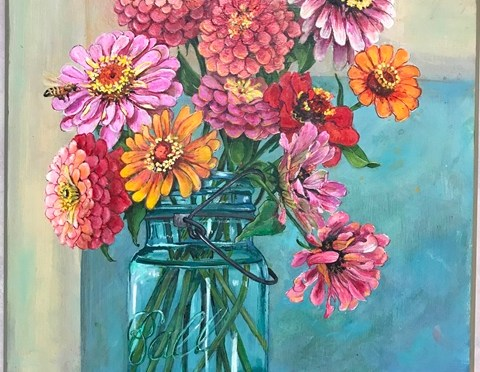 Zinnias in a Ball Jar