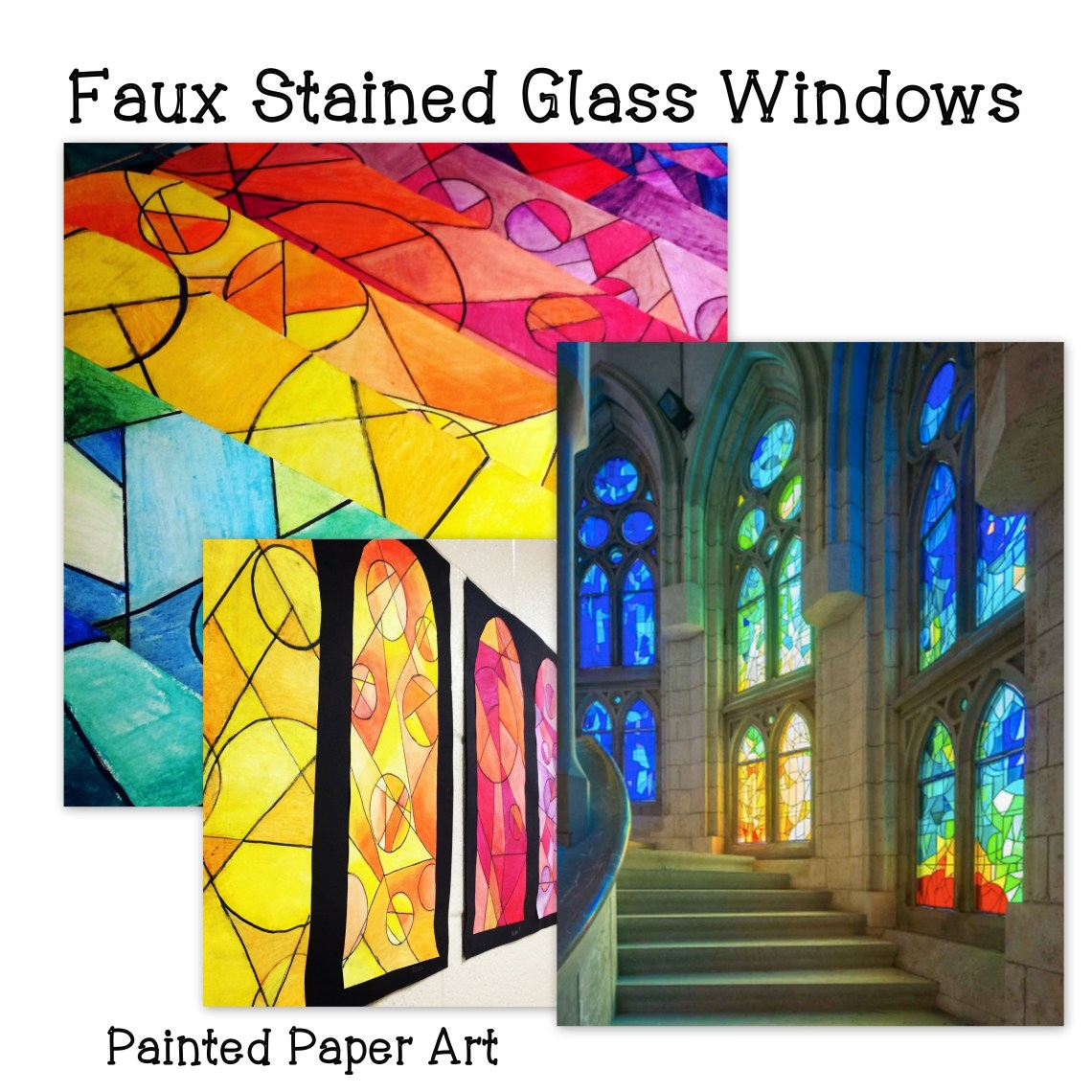 Faux Stained Glass Windows Painted Paper Art