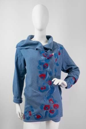 """Kardigan niebieski """"CZERWONE PAWIE"""" 001   057-KA-BLU-23   www.paintedwithwool.pl   shop online"""