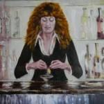 Художник Дмитрий Косариков-Двойной мартини для спутницы молодого человека,холст, масло, 60х80