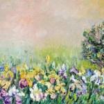 Рассвет над цветущим лугом, дсп, масло, 60х40,2010 г. Светлана Сычева