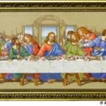 Тайная вечеря_ репродукция фрески Леонардо да Винчи, схема Janlynn (USA), 62 цвета, нитки DMC, размер вышивки с рамкой 34х73,см,вышивка крестом_Катерина Черненко_