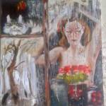 Человек и кошка, холст, масло, 50х70_Дмитрий Косариков