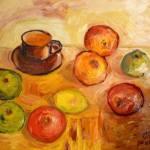 Яблоки с кофейной чашечкой,дсп,масло, 30х40-Vinsenta, С.Сычева