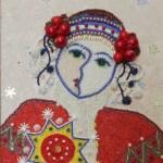 Косик Анастасия, Гуцулка, мозаика, бисер,бусы,стеклярус,30х40