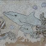 Косик Анастасия, Подводный мир, мозаика из неокрашенной яичной скорлупы, 30х25